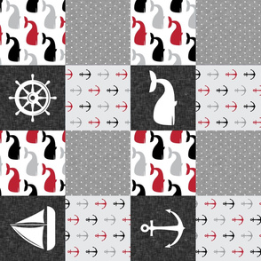 Nautical Patchwork - Sailboat, Anchor, Wheel, Whale - Red and Grey (90) LAD19