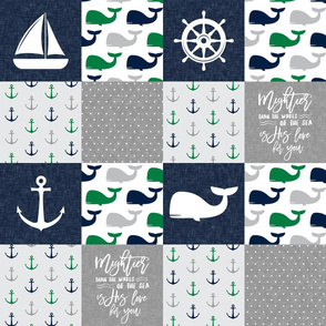 Nautical Patchwork - Mightier than the waves in the sea - Sailboat, Anchor, Wheel, Whale -  Navy and Green LAD19