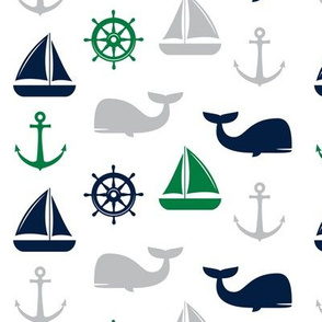 nautical in green, navy  & grey - whale, sailboat, anchor,  wheel LAD19