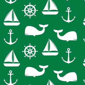 nautical on green - whale, sailboat, anchor,  wheel LAD19