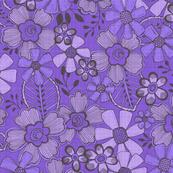 Fanciful Flowers, linen, purple