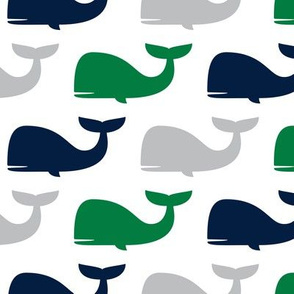 whales - nautical fabric - navy and green LAD19