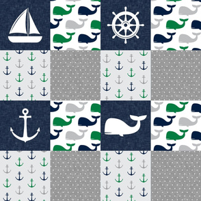 Nautical Patchwork - Sailboat, Anchor, Wheel, Whale - Navy and Green LAD19