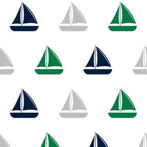 sailboats - nautical - navy and green LAD19