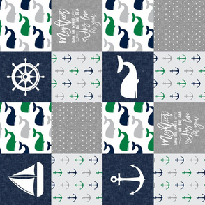 Nautical Patchwork - Mightier than the waves in the sea - Sailboat, Anchor, Wheel, Whale - Navy and Green (90)  LAD19