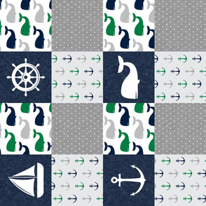 Nautical Patchwork - Sailboat, Anchor, Wheel, Whale - Navy and Green (90) LAD19
