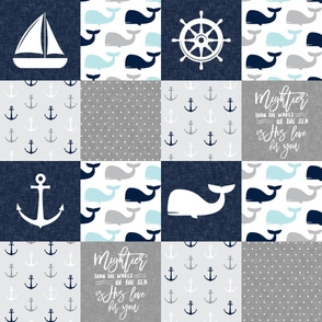 Nautical Patchwork - Mightier than the waves in the sea - Sailboat, Anchor, Wheel, Whale - Navy and Grey (90)  LAD19