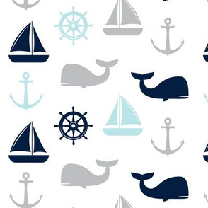 nautical in navy, blue & grey - whale, sailboat, anchor,  wheel LAD19