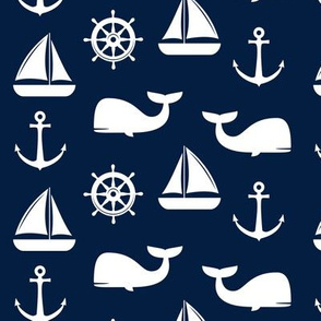 nautical on navy - whale, sailboat, anchor,  wheel LAD19