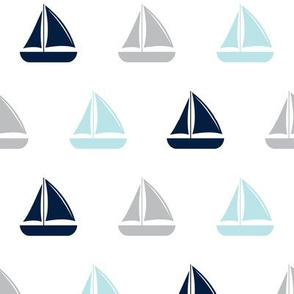 sailboats - nautical - navy blue and grey  LAD19