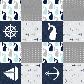 Nautical Patchwork - Sailboat, Anchor, Wheel, Whale - Navy and Grey (90)  LAD19