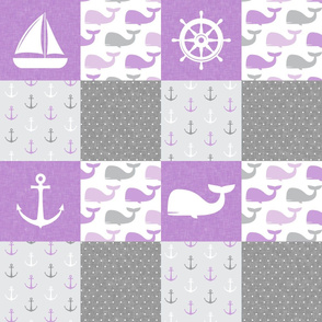 Nautical Patchwork -  Sailboat, Anchor, Wheel, Whale - Purple and Grey LAD19