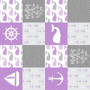 Nautical Patchwork - Mightier than the waves in the sea - Sailboat, Anchor, Wheel, Whale -  Purple and Grey (90)  LAD19