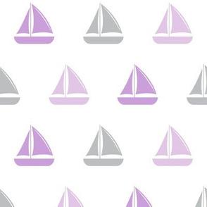 sailboats - nautical - purple and grey LAD19