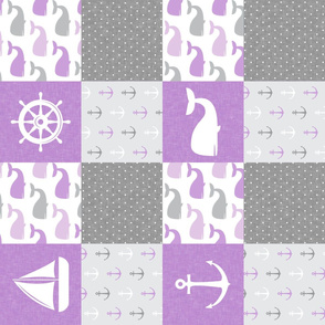Nautical Patchwork -  Sailboat, Anchor, Wheel, Whale - Purple and Grey (90)  LAD19