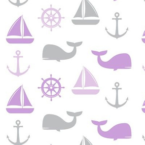 nautical in purple  & grey - whale, sailboat, anchor,  wheel LAD19