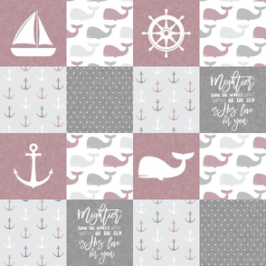 Nautical Patchwork - Mightier than the waves in the sea - Sailboat, Anchor, Wheel, Whale - mauve and grey  LAD19