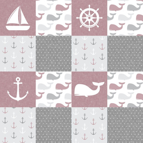 Nautical Patchwork - Sailboat, Anchor, Wheel, Whale - Mauve  and Grey  LAD19