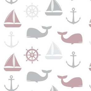 nautical in mauve & grey - whale, sailboat, anchor,  wheel LAD19
