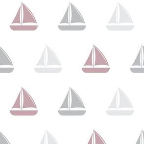sailboats - nautical - mauve and grey LAD19