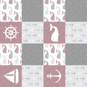 Nautical Patchwork - Sailboat, Anchor, Wheel, Whale - Mauve  and Grey (90)  LAD19