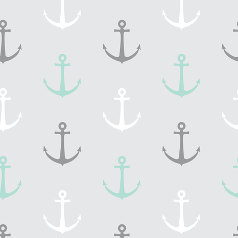 anchors - multi grey and aqua - LAD19 fabric by littlearrowdesign on Spoonflower - custom fabric
