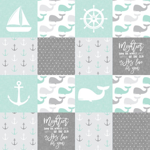 Nautical Patchwork - Mightier than the waves in the sea - Sailboat, Anchor, Wheel, Whale - Aqua and Grey LAD19