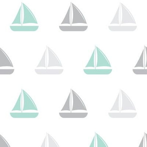 sail boats - nautical - aqua and grey  LAD19