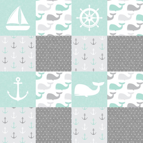 Nautical Patchwork - Sailboat, Anchor, Wheel, Whale - Aqua  and Grey  LAD19