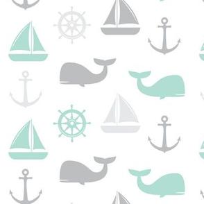 nautical in aqua and grey - whale, sailboat, anchor,  wheel LAD19
