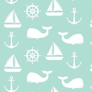 nautical on aqua - whale, sailboat, anchor,  wheel LAD19