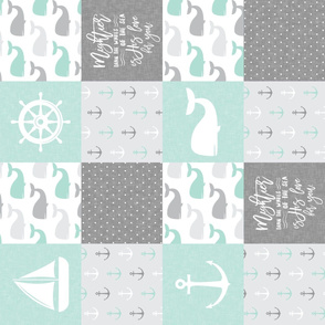 Nautical Patchwork - Mightier than the waves in the sea - Sailboat, Anchor, Wheel, Whale - Aqua and Grey (90)  LAD19