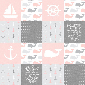 Nautical Patchwork - Mightier than the waves in the sea - Sailboat, Anchor, Wheel, Whale - Pink and Grey LAD19