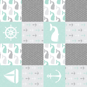 Nautical Patchwork - Sailboat, Anchor, Wheel, Whale - Aqua  and Grey  (90) LAD19