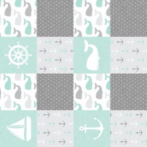 Nautical Patchwork - Sailboat, Anchor, Wheel, Whale - Aqua  and Grey  (90) LAD19