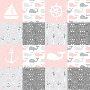 Nautical Patchwork - Sailboat, Anchor, Wheel, Whale - Pink and Grey  LAD19