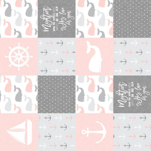 Nautical Patchwork - Mightier than the waves in the sea - Sailboat, Anchor, Wheel, Whale - Pink and Grey (90) LAD19