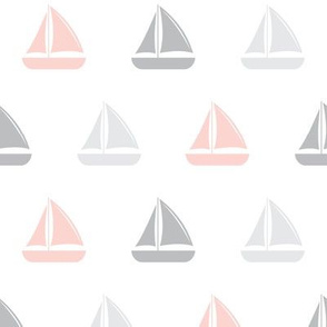 sailboats - nautical - pink & grey LAD19