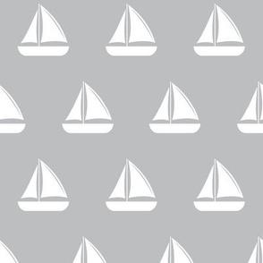 sailboats - nautical - grey  LAD19