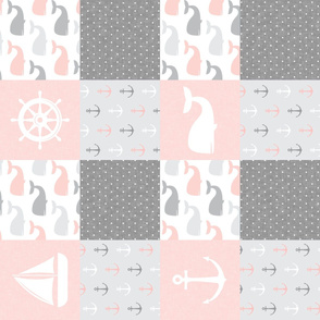 Nautical Patchwork - Sailboat, Anchor, Wheel, Whale - Pink and Grey (90) LAD19