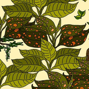 Jungle Leaves on Pastel Yellow