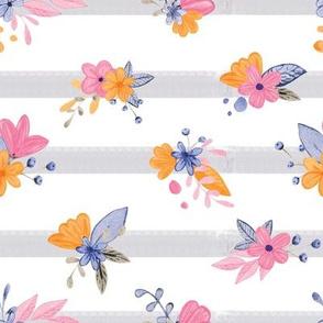 Watercolor stripe bouquet