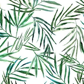 Palm dreams • watercolor green leaves