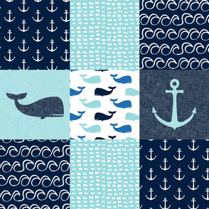 Nautical Patchwork - Whale - Blue and Navy LAD19