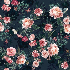 Soft pink botanical flowers on navy background