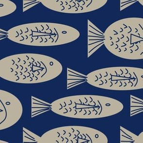 Beige Fish on Navy Blue Background