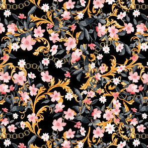 Gold Baroque Leaves and Soft Pink flowers