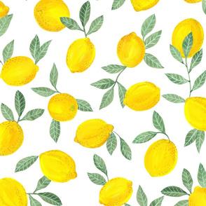 Lemons pattern fabric