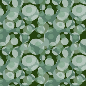 Abstract geometric seamless pattern with circles. Shades of green.