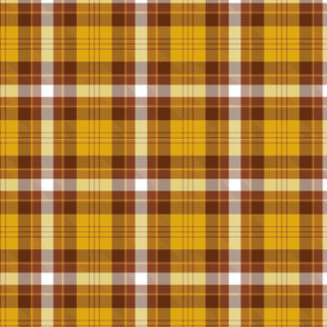 Brown, orange and white plaid.